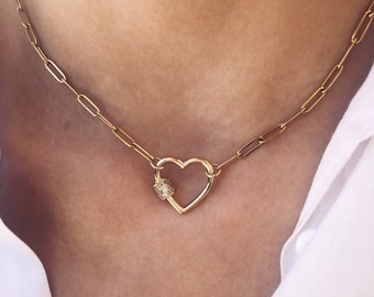 Necklace with steel chain and heart clasp in gold plated brass with zircons