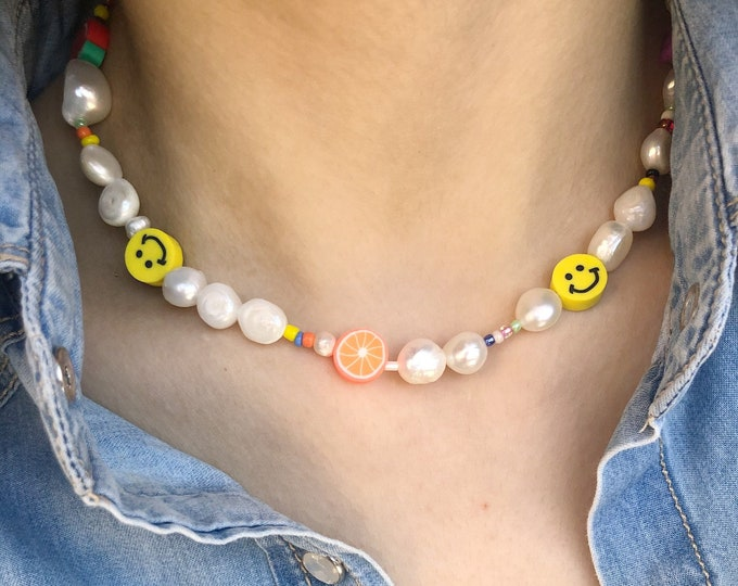 Featured listing image: Necklace with river pearls of various sizes, colored beads, fruit and polymer clay smileys