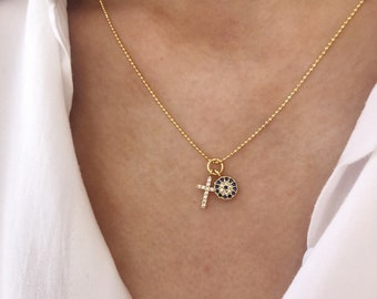 Necklace with chain in 925 silver gilded with beads and cross and eye pendants with zircons