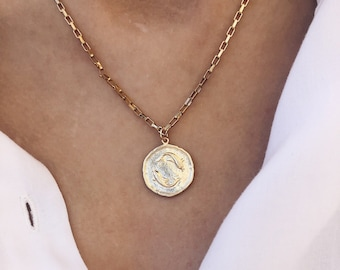 Steel necklace with zodiac sign medal