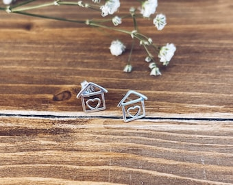 Tu sei casa - Earrings entirely in 925 silver in the shape of a house