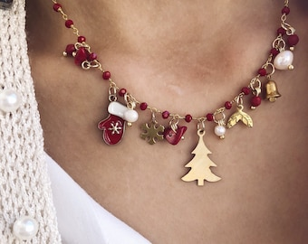 Multicharm necklace with rosary chain and Christmas pendants
