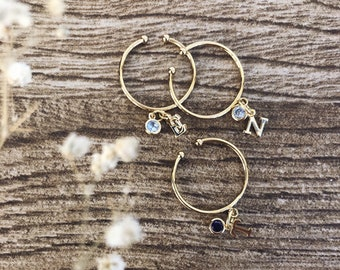 Golden brass rings with mini initial pendant and mini zircon