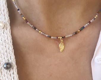 Choker necklace with multicolored agate micro beads and gold plated brass leaf