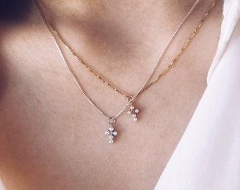 Necklace with venetian chain in 925 silver and mini cross pendant with beads