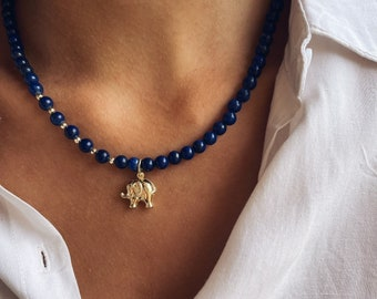 Necklace with lapis, hematite beads and elephant pendant in 925 silver gilded