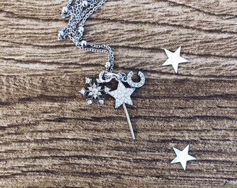 925 silver necklace with charm with zircons
