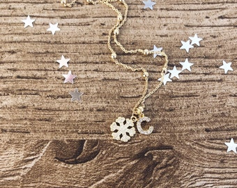 925 silver necklace with snowflake and initial with zircons