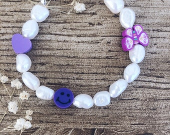 Bracelet with natural pearls, smiles and colored polymer clay beads