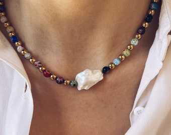 Necklace with Murano millefiori stones, golden steel beads and central scaramazza pearl