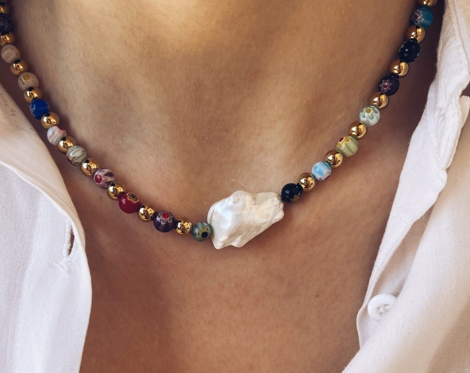Featured listing image: Necklace with Murano millefiori stones, golden steel beads and central scaramazza pearl
