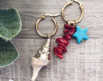 Gold-plated steel hoop earrings, natural shell, coral chips stones and turquoise paste star