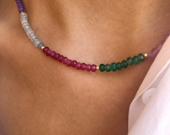 Choker necklace with multicolor agate washers interspersed with gold hematite washers