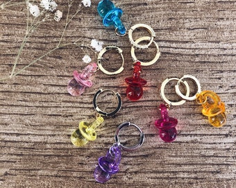 Mono pacifier earring in various colors