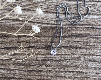 Necklace entirely in 925 silver with zircon point of light