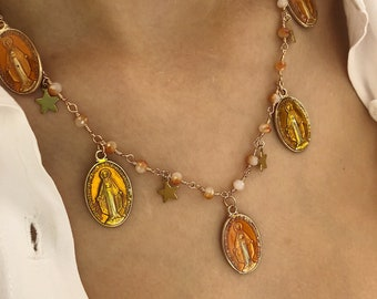 Necklace with rosary chain, brass stars and enameled madonnas