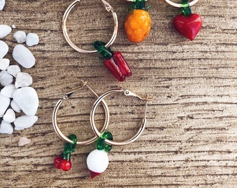 Mono gold-plated steel hoop earrings with glass fruit pendants