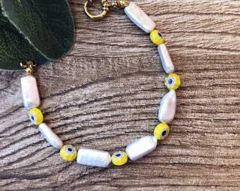 Bracelet with rectangular natural pearls and yellow Murano stones