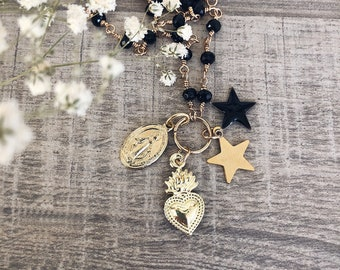 Multicharm necklace with rosary chain, brass pendants and little stars