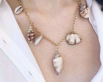 Necklace with golden steel chain and shells in various shapes