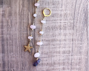 Mini circles earrings in gold plated brass with chips stones and starfish
