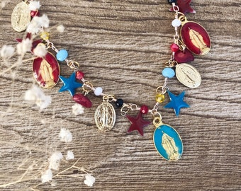 Necklace with brass rosary chain, enamelled madonnine pendants, stars and aluminum madonnines