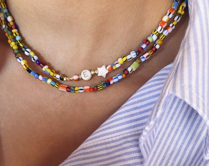 Initial and colored resin beaded necklaces - set of two necklaces