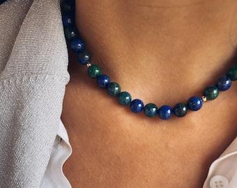 Lapis, malachite, hematite beads and T-shaped clasp necklace