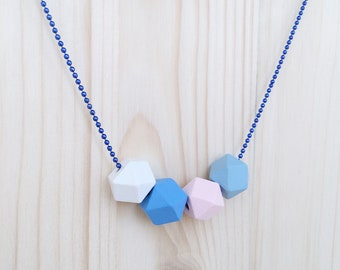 Necklaces with colored wooden stones 15 mm and aluminum chains