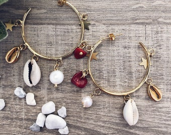 Gold-plated brass hoop earrings with coral stones, shells and little stars