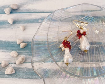 925 silver stud earrings, scaramazza pearl and cluster of coral and beads