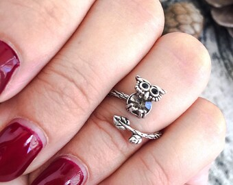 Silver brass owl ring - adjustable