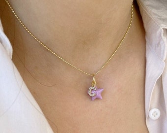 Necklace entirely in 925 silver with Venetian chain, enameled pendants and initial