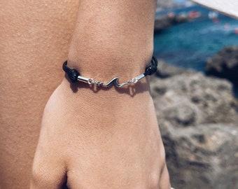 Cord bracelets with slipknot, 925 silver hooks and wave pendant