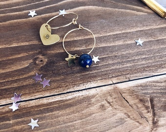 Gold plated brass earrings with engraved heart, star and lapis bead