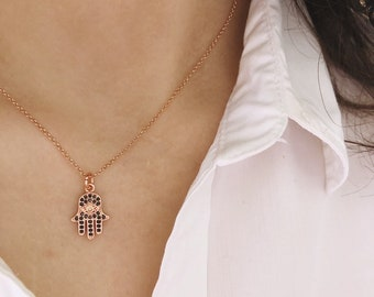 Necklace with smooth chain in 925 silver and rose gold and hand of Fatima in brass with cubic zirconia