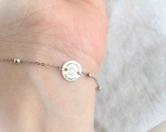 Sweet home bracelet in silver with beaded chain