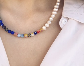 Choker necklace with natural pearls and yellow Murano stones