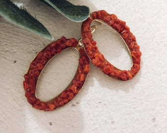 Earrings in brass circles with corals