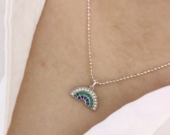 925 silver necklace with balls and rainbow pendant with colored rhinestones
