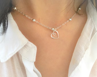 Necklace with chain with aluminum beads and open heart in 925 silver