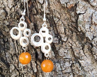 Earrings with silver brass stud and faceted agate stones