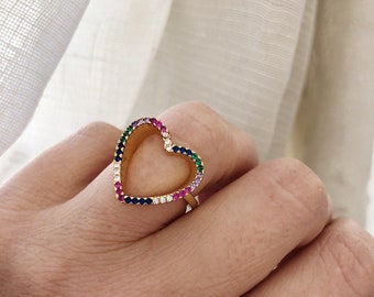 Open heart ring in gilded brass with colored zircons