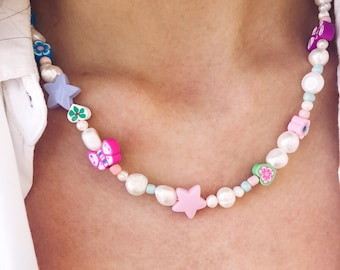 Choker necklace with natural pearls, polymer clay beads and pastel stars
