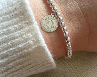 Bracelet entirely in 925 silver with coin pendant
