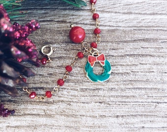 Christmas edition - Bracelet with rosary chain and enameled Christmas pendants