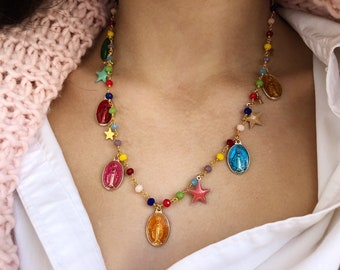 Multicolor rosary necklace, enamelled madonnas and stars