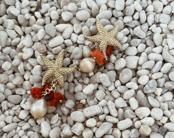 Earrings with maxi starfish, coral and scaramazza pearl