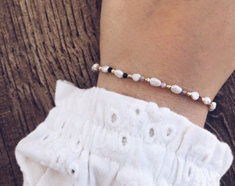 Bracelets with micro river pearls, pink tourmaline micro stones and gold hematite beads