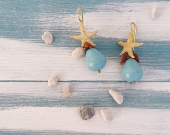 Steel starfish stud earrings, coral cluster and natural turquoise stone
